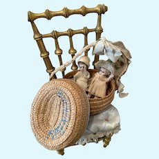 Two adorable All Bisque Mignonettes in Basket