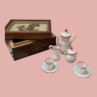 Lovely Glass Tee Set in Early Wooden Box
