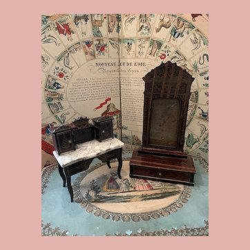 Lot of 2 Boulle Dollhouse Furniture Pieces