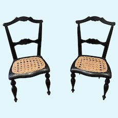 Two Early French Doll Chairs