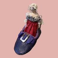 Fine Little Early Grödner Doll in Shoe
