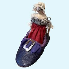 Fine Little Early Grödner Doll in Shoe
