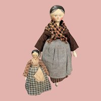 Two Grödner Wooden Peg Dolls