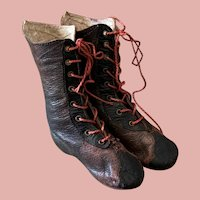 Fine Antique Fashion Doll Boots with Red Strings