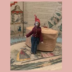 Lovely Little Early Mache Wooden Boy