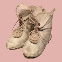 Rare French Pink Leather Boots for Bebe