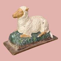 Early Paper Mache Sheep on Wheels