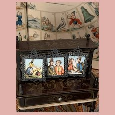 Three Early Miniature Dollhouse Pictures