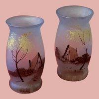 Two Pretty French Lace Bonnets Art Nouveau Glass Vases