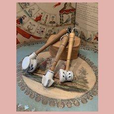 Three Antique German Kitchen Miniature Doll House Blue Onion Porcelain Utensils