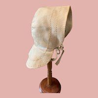 Early Cotton Bonnet for Wooden/Paper Mache/China Dolls