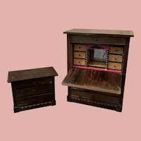 Two Early Dollhouse Furniture Pieces by Waltershausen