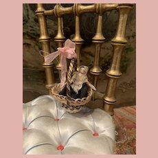 Sweet Little Grödner Doll in Basket