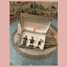 Extremely Rare Early Miniature Composition Figures in Box