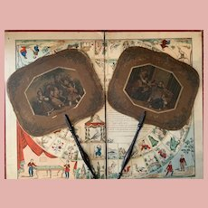 Pair of Early French Fans, Paper Mache Face Screens