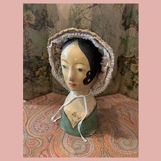 Rare Original Old French Paper Mache Millinery Head with Straw Hat