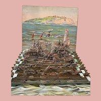Rare Paper Toy Battle Ship Diorama