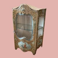 Antique Miniature French Enamel  Vitrine display Cabinet