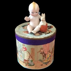 Antique German Rose O'Neill Kewpie with Rabbit