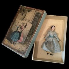 Lovely Small Wooden/Mache Doll in Box