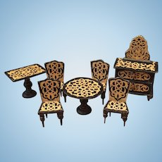 Lovely Early Dollhouse Furniture Set