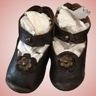 Lovely Old French Leather Shoes for Bebe