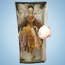 Very Fine & Extremely Rare Big Grodnertal Wooden Doll  as Fortune-Teller