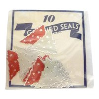 Vintage Gummed Seals Stickers Red & Silver Christmas Trees MIP