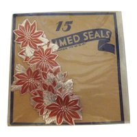 Vintage Gummed Seals Stickers Red & Silver Poinsettia Flowers MIP