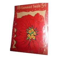 Vintage Large Gummed Seals Stickers Red Poinsettia Flowers MIP