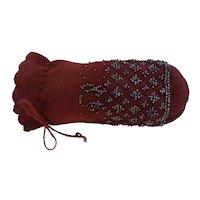 Small Crochet Knit Black Cherry Red Drawstring PURSE w/ Marcasite Beads