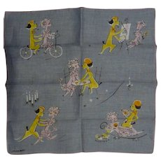 RARE! Vintage Printed Cotton JEANNE MILLER Novelty Hankie Handkerchief Comical Poodles