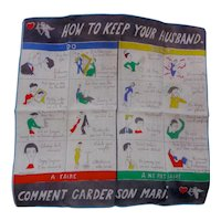 Vintage How To Keep Your Husband Novelty Hanky Handkerchief