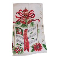 Vintage CHRISTMAS NOEL Linen Kitchen Towel   Santa Poinsettia, Music, Ribbons, Bells MINT