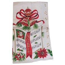 Vintage CHRISTMAS NOEL Linen Kitchen Towel   Santa Poinsettia, Music, Ribbons, Bells MINT