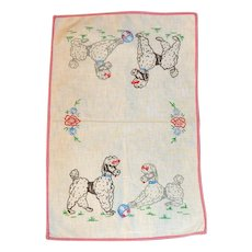 Vintage Dresser Scarf Poodle Dogs Playing Ball