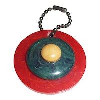 Bakelite Patriotic Colors Bullseye Charm Zipper Pull Pendant for Necklace Bracelet Phone Purse