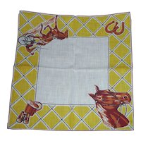 Wonderful Picture Hanky Handkerchief Horse Equestrian Rider Good Luck Horseshoes Motif Colorful