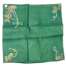 Vintage Linen Novelty Hankie Handkerchief Poodles Mint Tag BURMEL