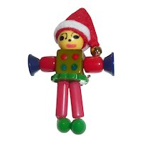 Bakelite Button Bead Crib Toy Christmas Elf  Doll Charm Pin Brooch Limited Edition!
