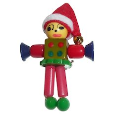 SALE! Bakelite Button Bead Crib Toy Christmas Elf  Doll Charm Pin Brooch Limited Edition!