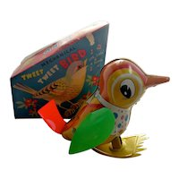 Mechanical TWEET TWEET BIRD, Japan (T.P.S, TPS) wind-up tin litho toy 1960s Orig Box