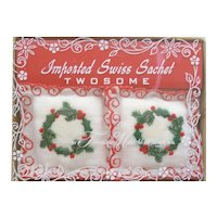 Vintage Christmas 2 Swiss Sachets Mint in Box Wreath & Lace Design
