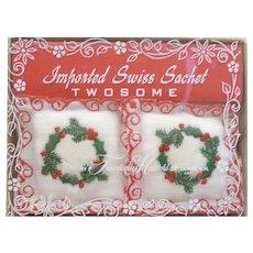 Vintage Christmas 2 Swiss Sachets Mint in Box Wreath & Lace Design