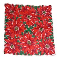Bold Red Poinsettia Flowers & Green Leaves Christmas Hanky