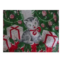 Adorable Christmas Holiday Apron Kitty Cats Xmas Trees Candy Canes Vintage Handmade