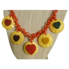 Outstanding Bakelite Multi-Colored Hearts Necklace .... A Must See!
