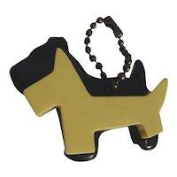 Adorable Bakelite Double SCOTTY Dog Charm Key Chain