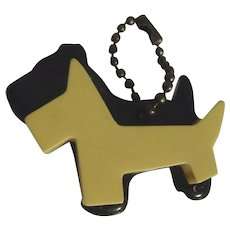 Adorable Bakelite Double SCOTTY Dog Charm Key Chain