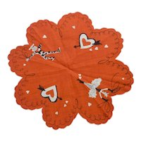 Unusual Vintage Valentines Day Round Scalloped Handkerchief, French Themed
